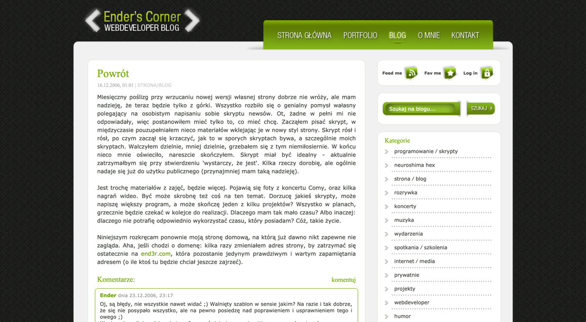 End3r's Corner - blog in 2006