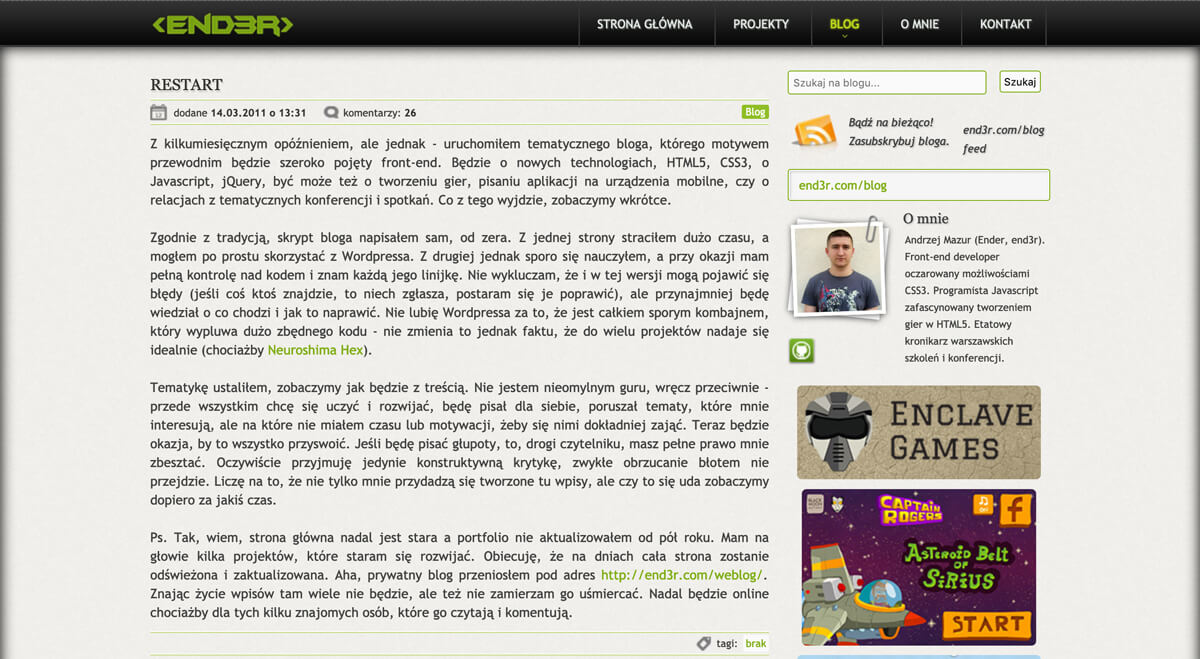End3r's Corner - blog in 2011