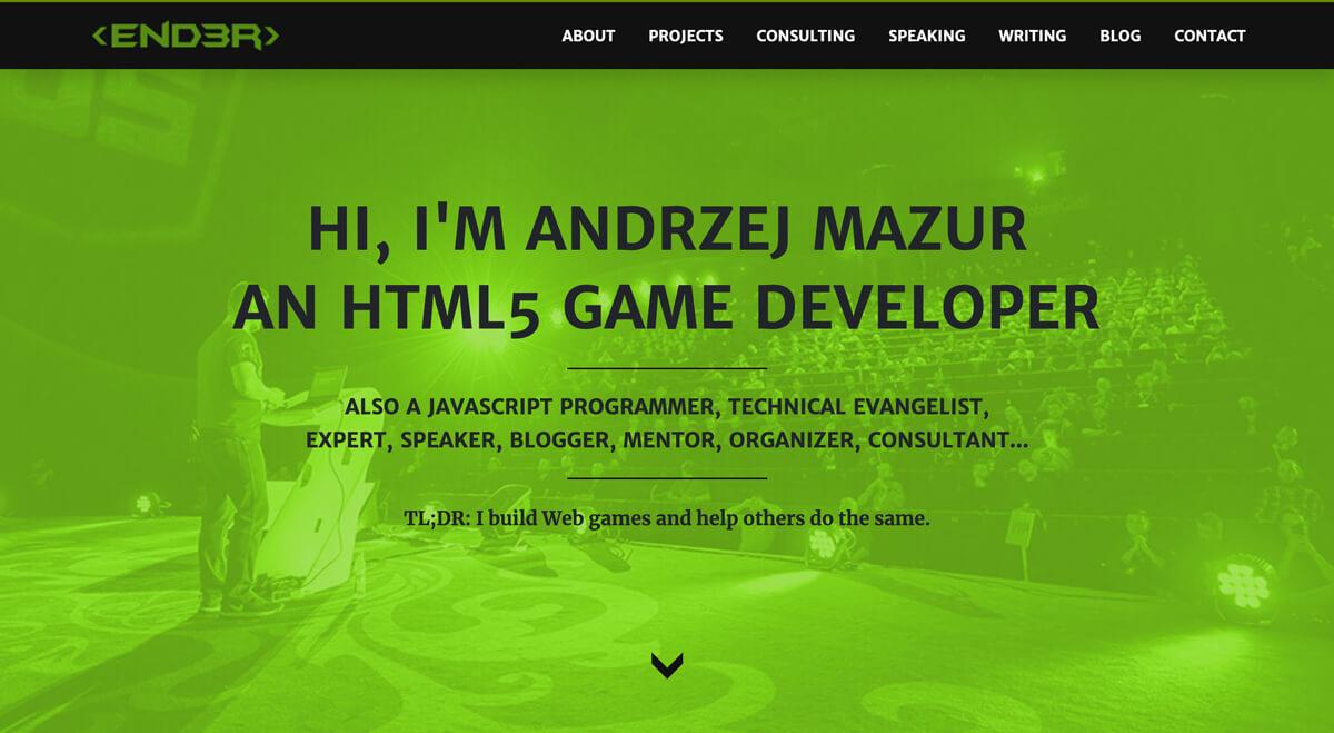 End3r's Corner - website in 2020