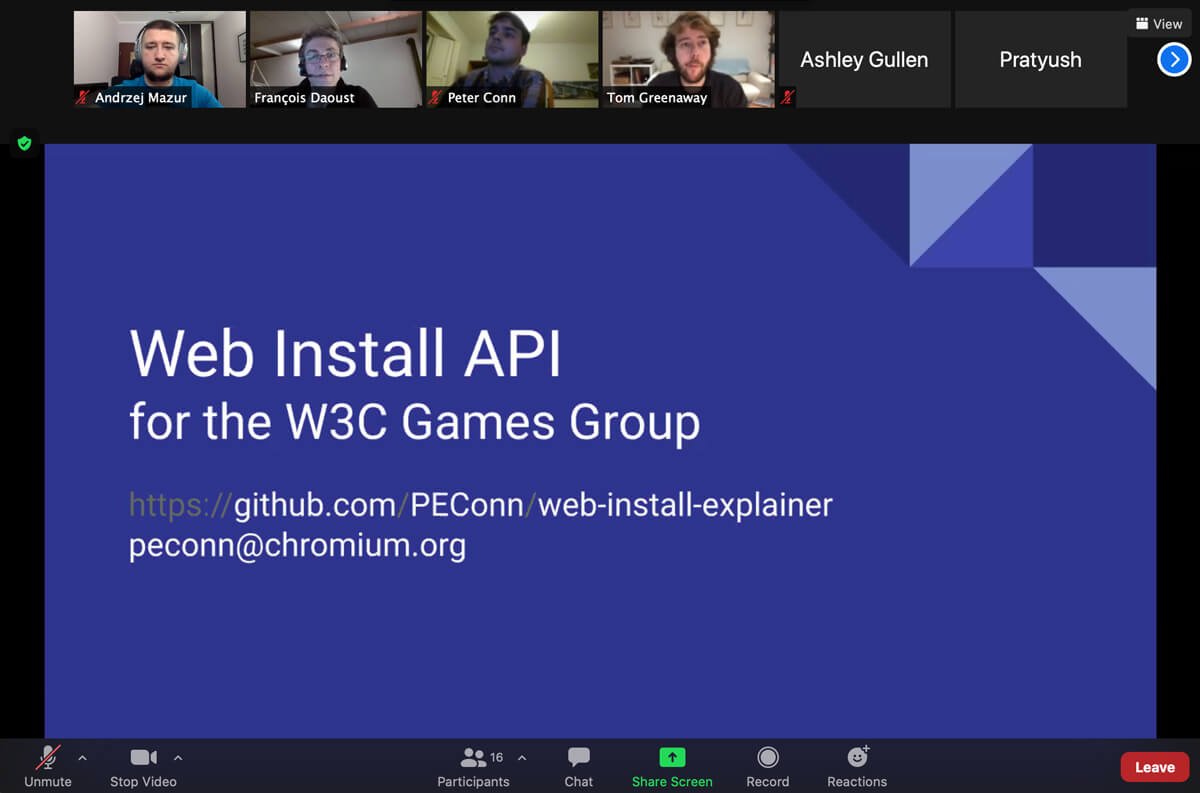 End3r's Corner - W3C Games CG December 2020: Web Install API