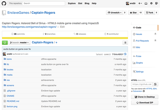 Source code of Captain Rogers on GitHub