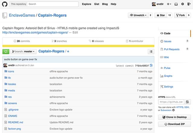 Source code of Captain Rogers on GitHub
